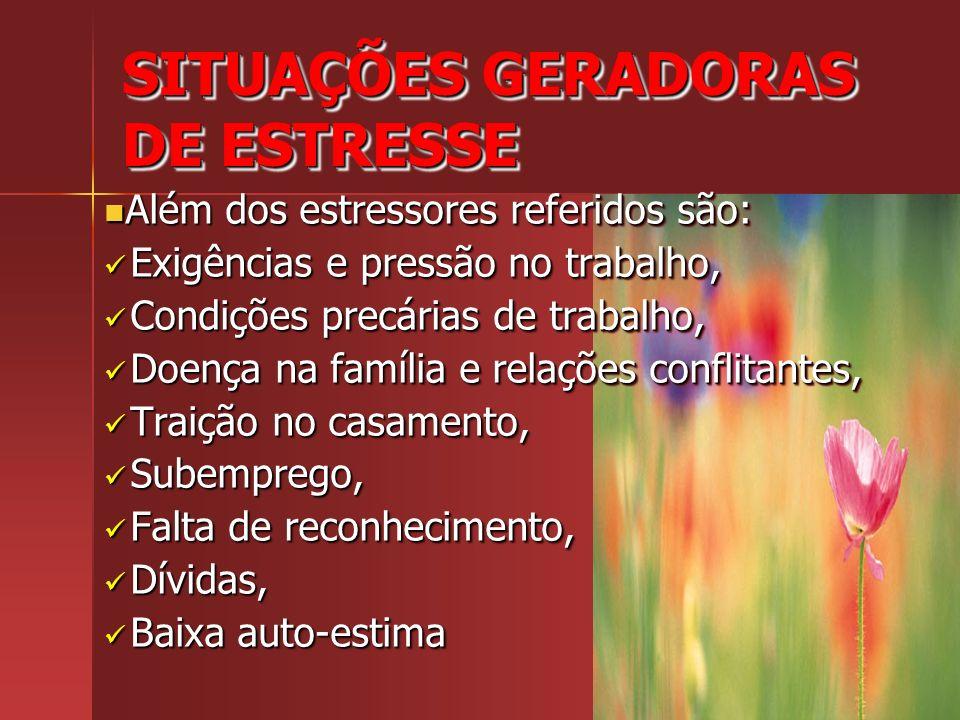SITUAÇÕES GERADORAS DE ESTRESSE