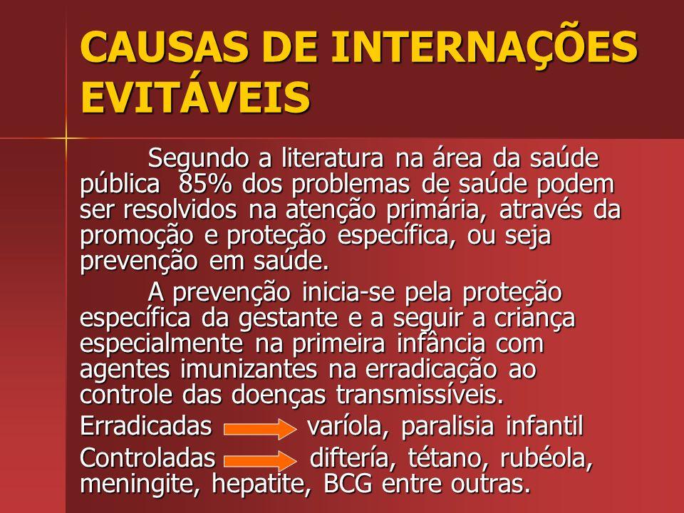 CAUSAS DE INTERNAÇÕES EVITÁVEIS