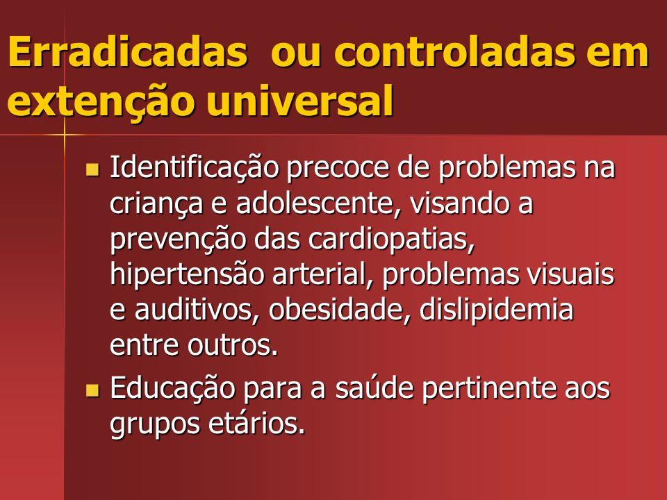 Erradicadas ou controladas em extenção universal