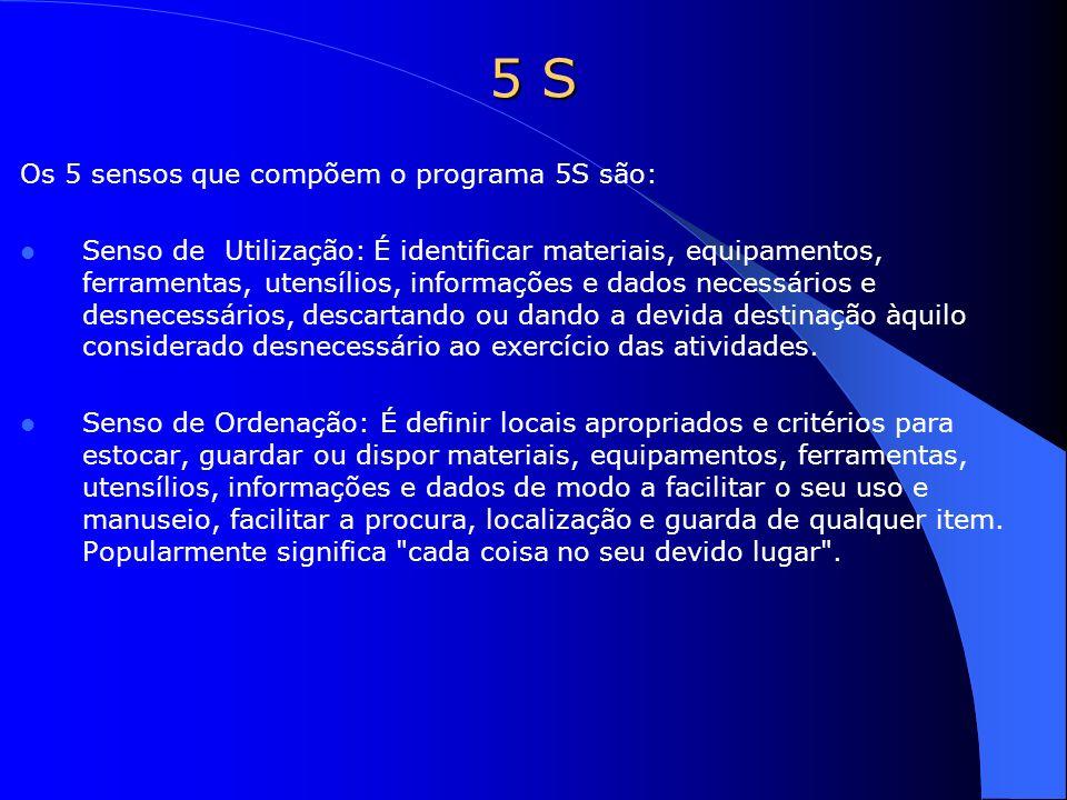5 S Os 5 sensos que compõem o programa 5S são: