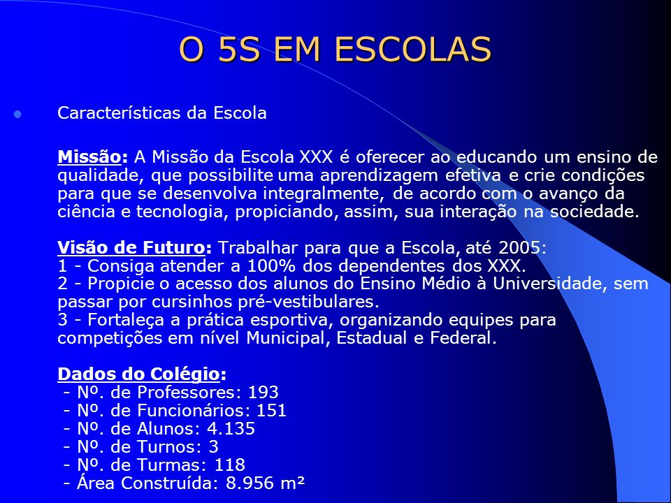 O 5S EM ESCOLAS Características da Escola
