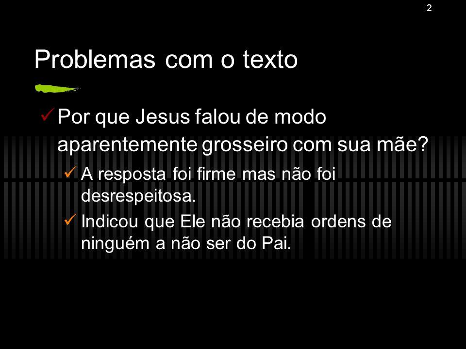 Problemas com o texto Por que Jesus falou de modo aparentemente grosseiro com sua mãe A resposta foi firme mas não foi desrespeitosa.
