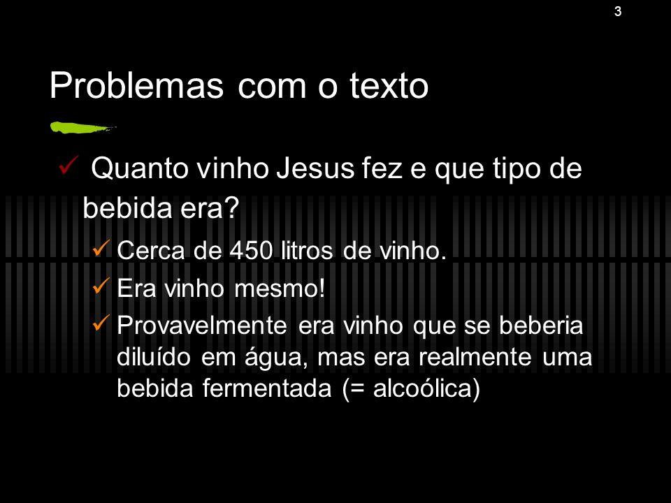 Problemas com o texto Quanto vinho Jesus fez e que tipo de bebida era