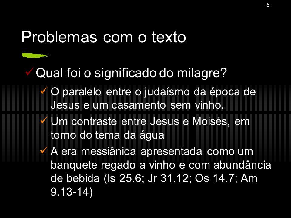 Problemas com o texto Qual foi o significado do milagre