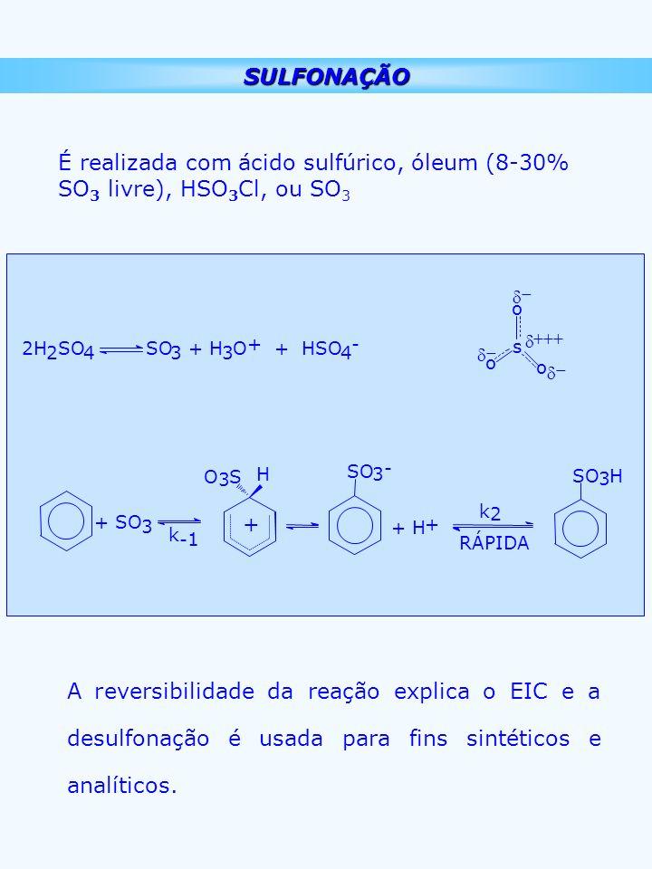 SULFONAÇÃO É realizada com ácido sulfúrico, óleum (8-30% SO3 livre), HSO3Cl, ou SO3. 2H. 2. SO. 4.