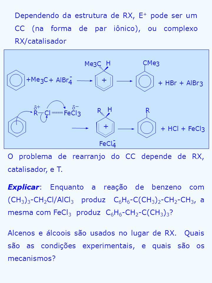 O problema de rearranjo do CC depende de RX, catalisador, e T.