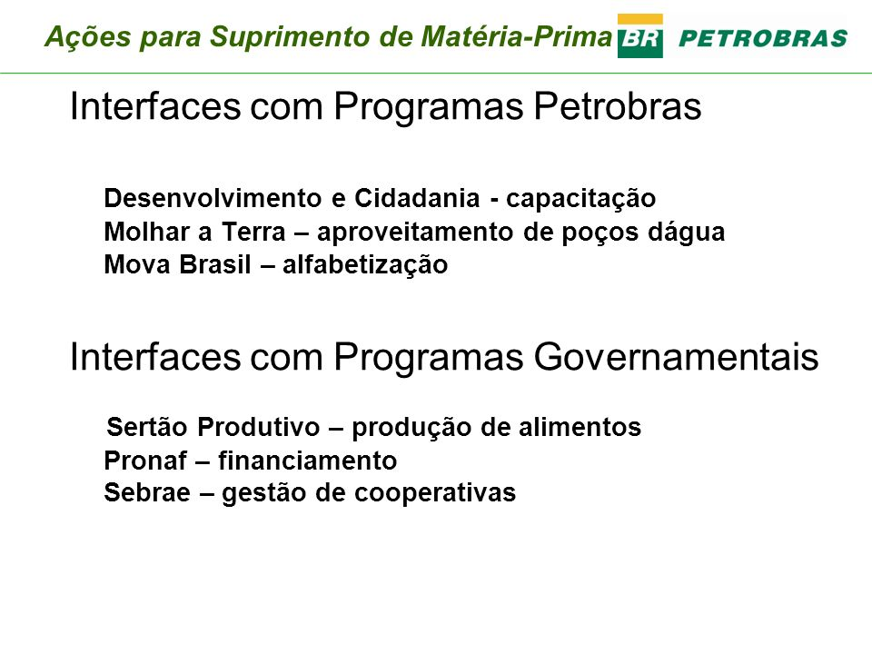 Interfaces com Programas Petrobras