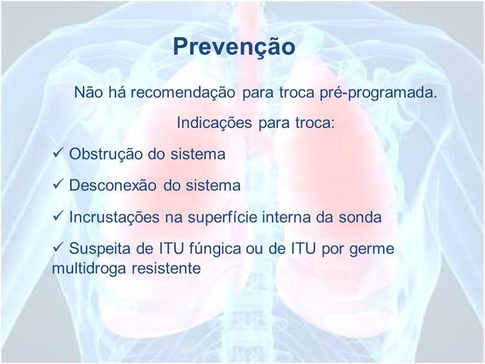 Prevenção Não há recomendação para troca pré-programada.