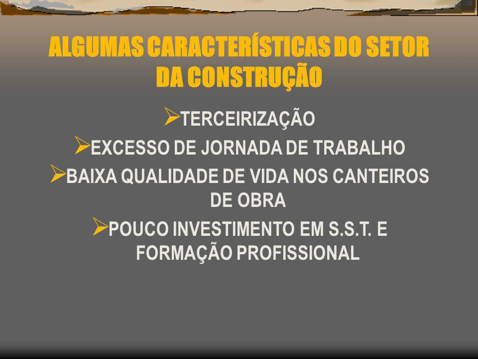 ALGUMAS CARACTERÍSTICAS DO SETOR DA CONSTRUÇÃO