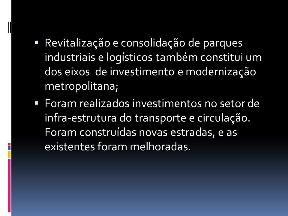 Revitalização e consolidação de parques industriais e logísticos também constitui um dos eixos de investimento e modernização metropolitana;