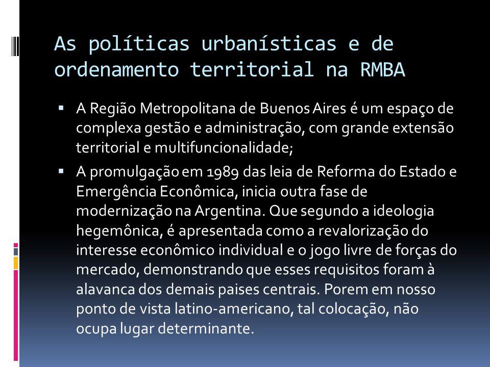 As políticas urbanísticas e de ordenamento territorial na RMBA
