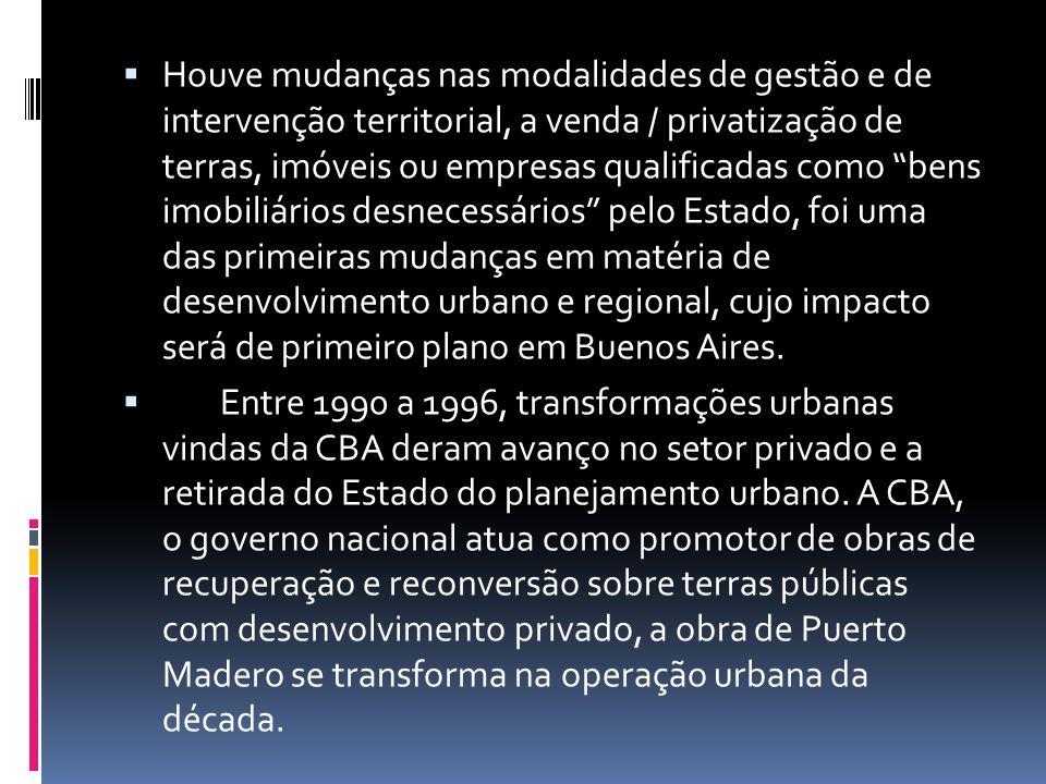 Houve mudanças nas modalidades de gestão e de intervenção territorial, a venda / privatização de terras, imóveis ou empresas qualificadas como bens imobiliários desnecessários pelo Estado, foi uma das primeiras mudanças em matéria de desenvolvimento urbano e regional, cujo impacto será de primeiro plano em Buenos Aires.
