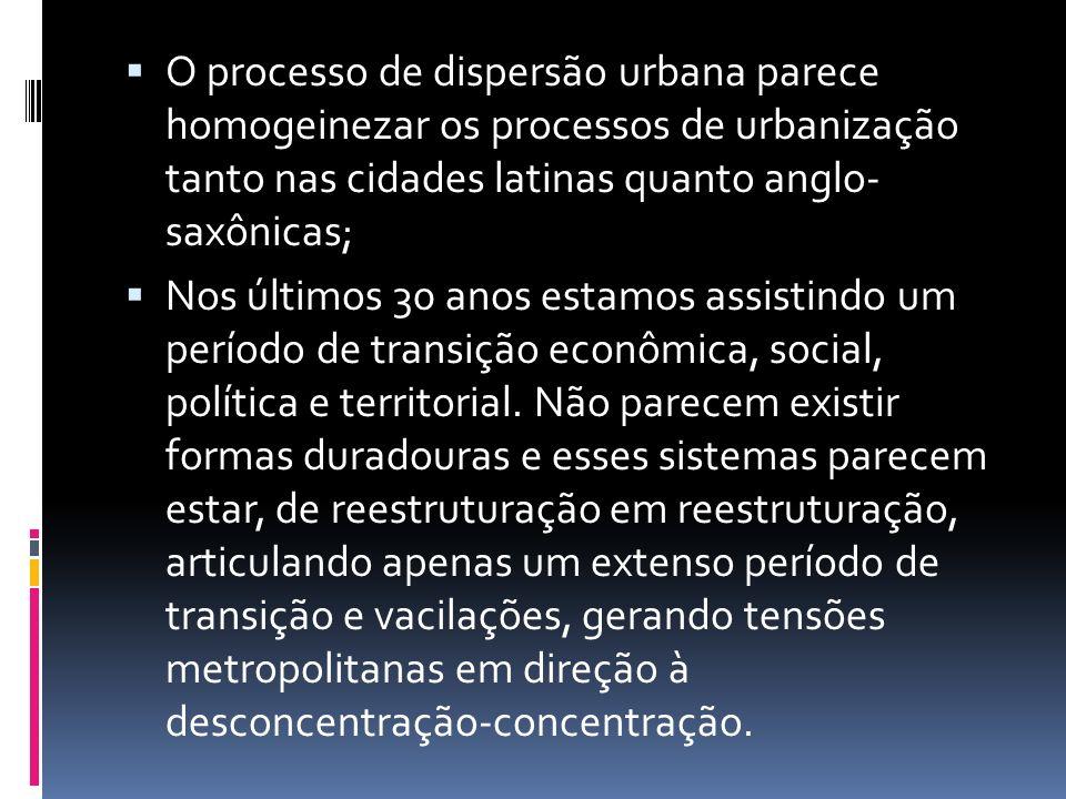 O processo de dispersão urbana parece homogeinezar os processos de urbanização tanto nas cidades latinas quanto anglo- saxônicas;