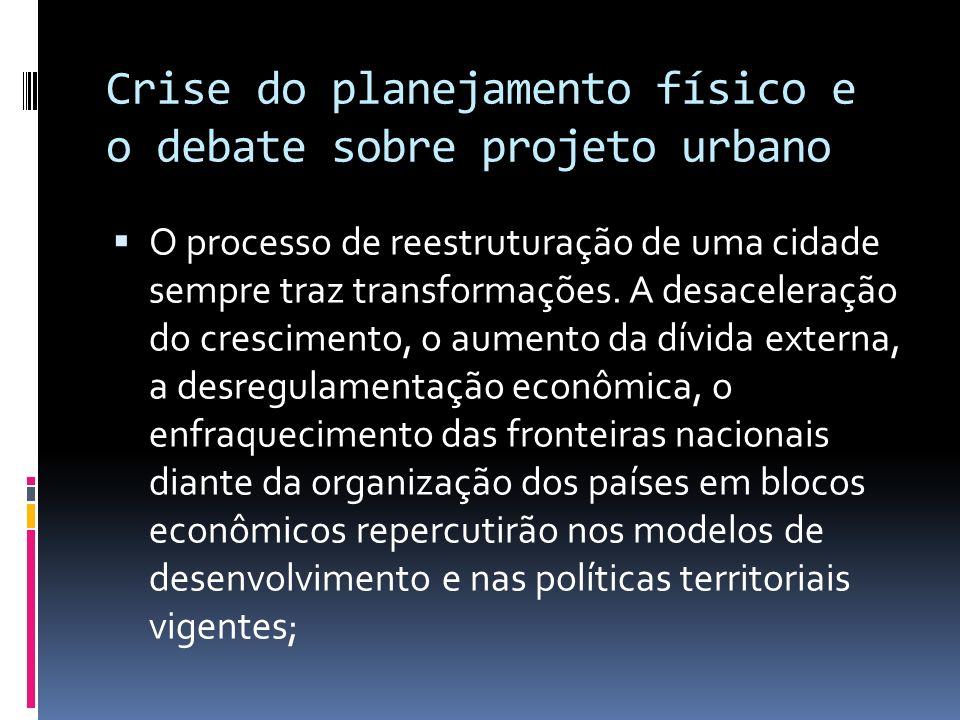 Crise do planejamento físico e o debate sobre projeto urbano