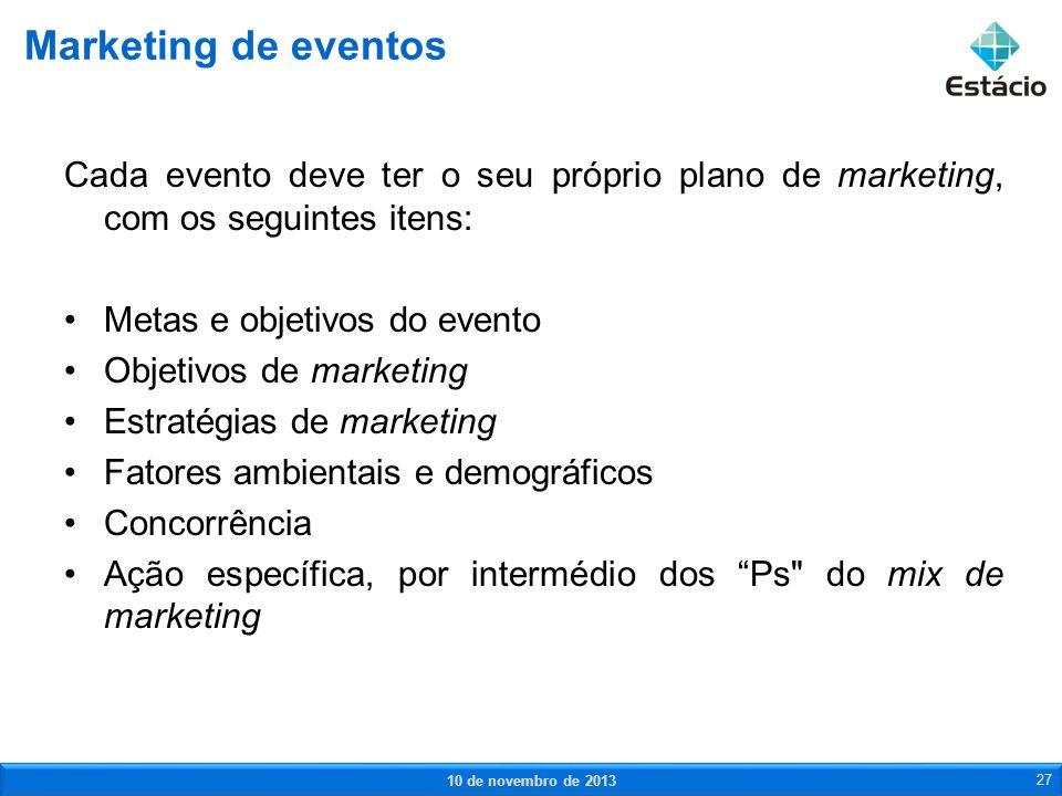 Marketing de eventos Cada evento deve ter o seu próprio plano de marketing, com os seguintes itens: