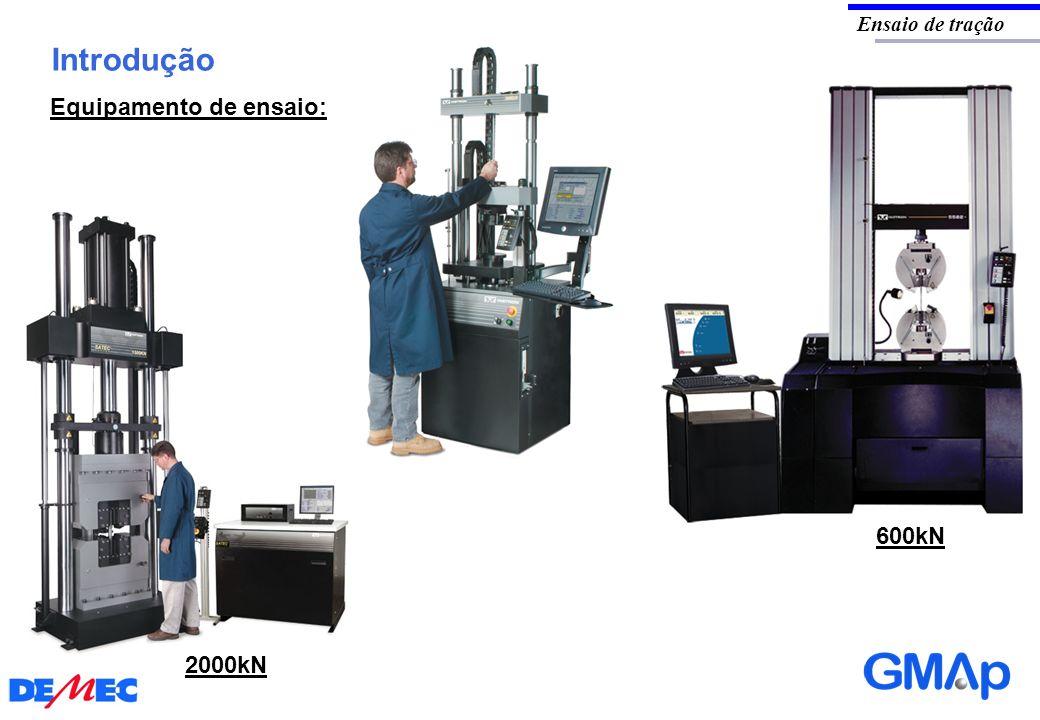 Ensaio de tração Introdução Equipamento de ensaio: 600kN 2000kN