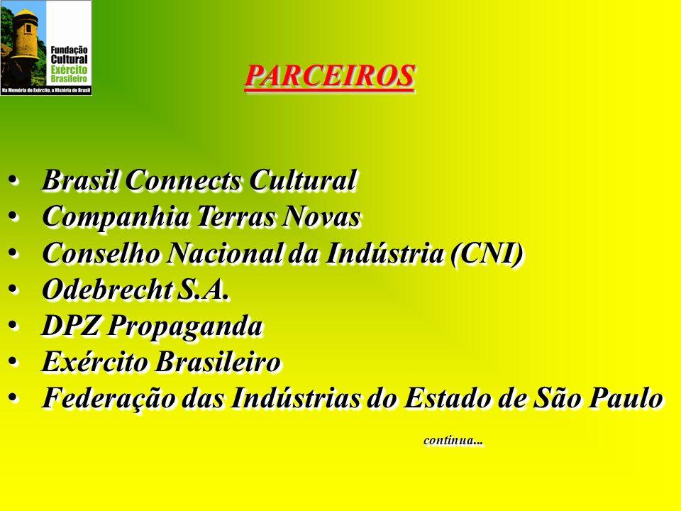PARCEIROS Brasil Connects Cultural. Companhia Terras Novas. Conselho Nacional da Indústria (CNI) Odebrecht S.A.