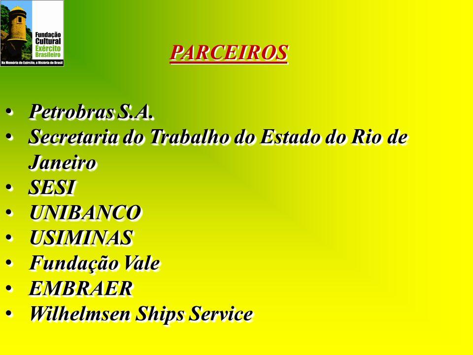 PARCEIROS Petrobras S.A. Secretaria do Trabalho do Estado do Rio de Janeiro. SESI. UNIBANCO. USIMINAS.