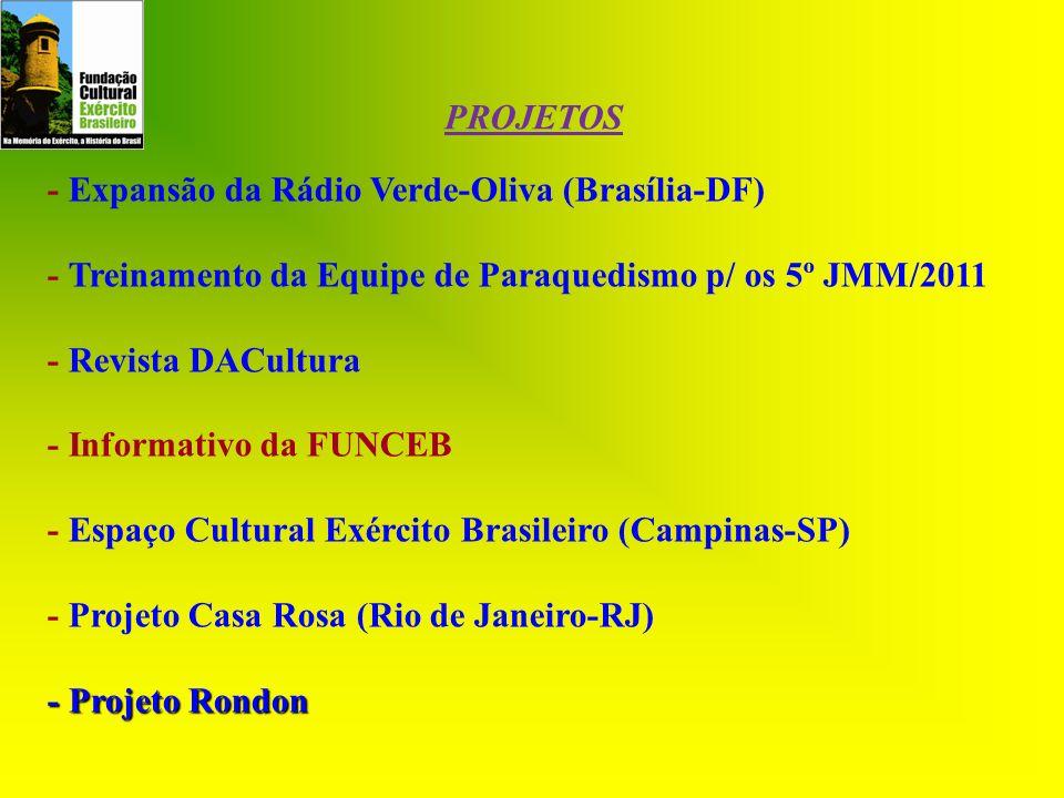 PROJETOS - Expansão da Rádio Verde-Oliva (Brasília-DF) - Treinamento da Equipe de Paraquedismo p/ os 5º JMM/2011.