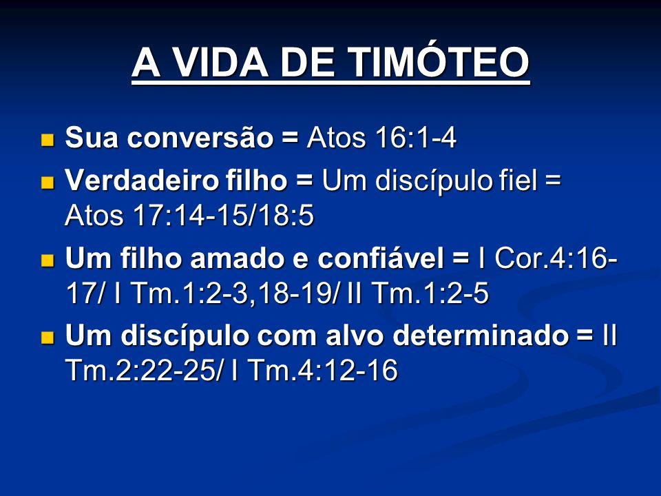 A VIDA DE TIMÓTEO Sua conversão = Atos 16:1-4