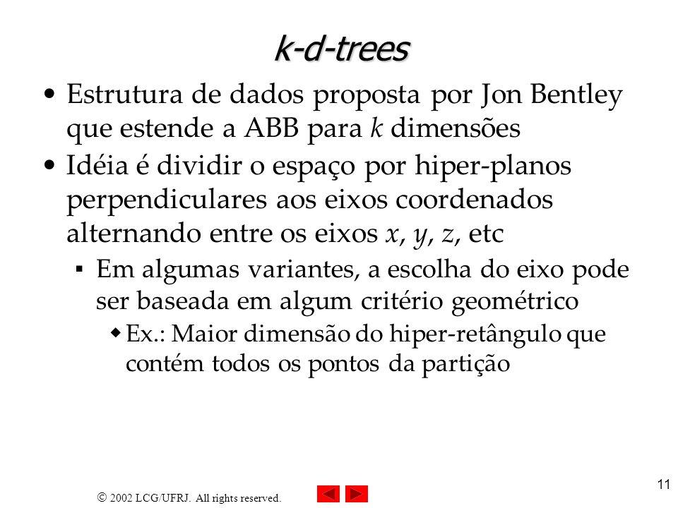 k-d-trees Estrutura de dados proposta por Jon Bentley que estende a ABB para k dimensões.