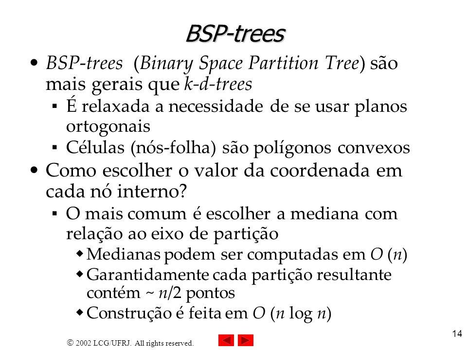 BSP-treesBSP-trees (Binary Space Partition Tree) são mais gerais que k-d-trees. É relaxada a necessidade de se usar planos ortogonais.