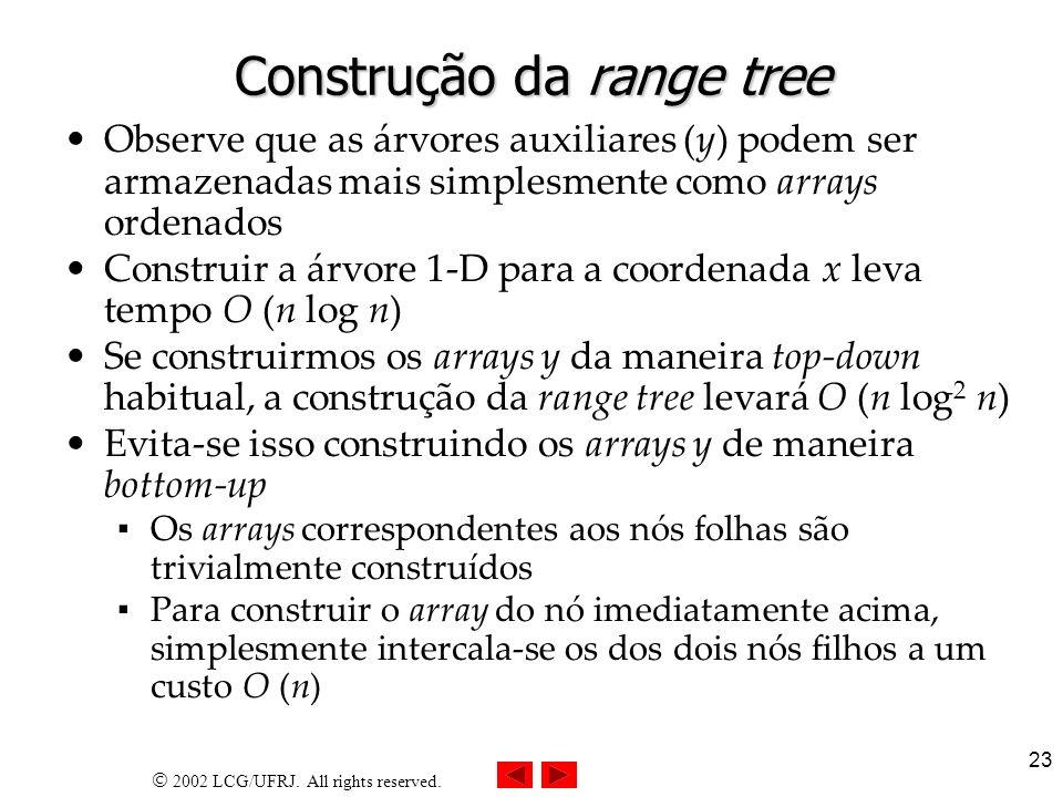 Construção da range tree