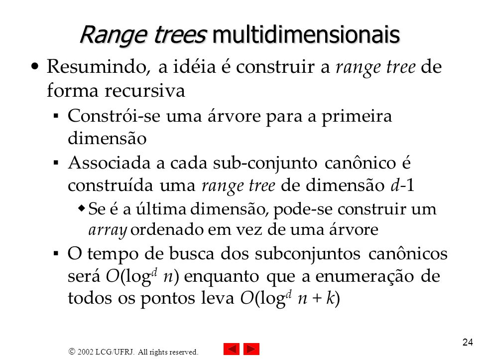 Range trees multidimensionais