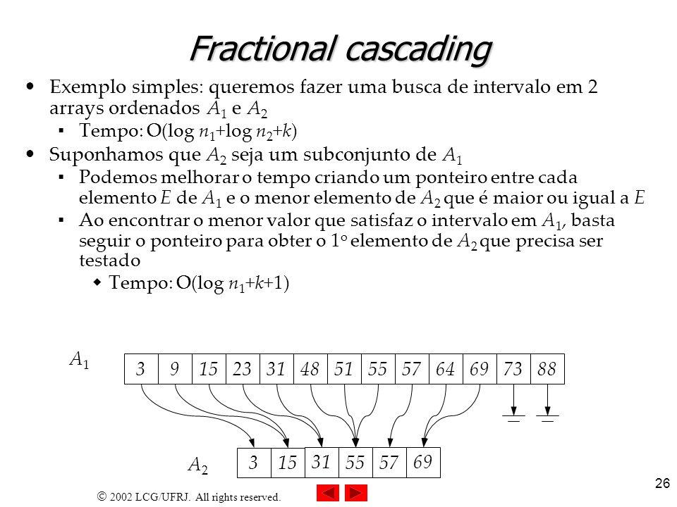 Fractional cascadingExemplo simples: queremos fazer uma busca de intervalo em 2 arrays ordenados A1 e A2.