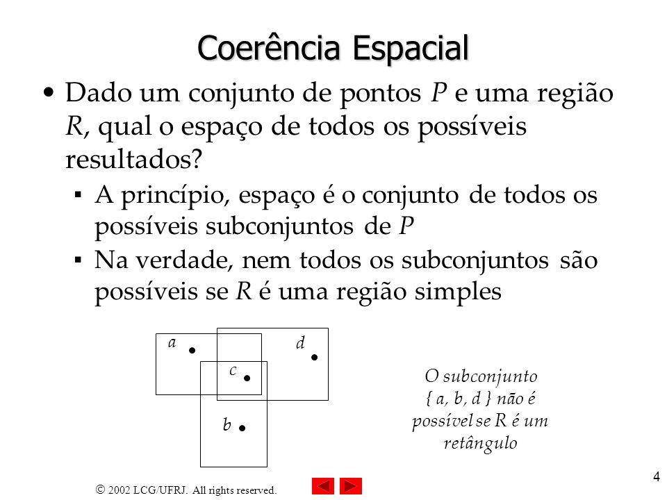 O subconjunto { a, b, d } não é possível se R é um retângulo