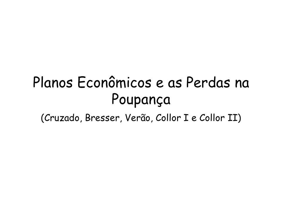 Planos Econômicos e as Perdas na Poupança (Cruzado, Bresser, Verão, Collor I e Collor II)