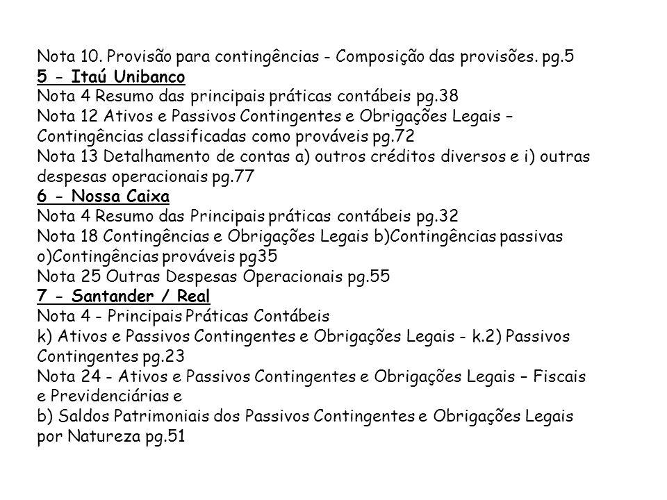 Nota 10. Provisão para contingências - Composição das provisões. pg.5