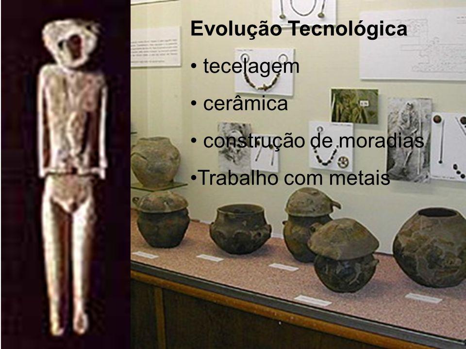 Evolução Tecnológica tecelagem cerâmica construção de moradias Trabalho com metais