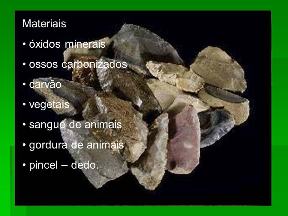 Materiais óxidos minerais. ossos carbonizados. carvão. vegetais. sangue de animais. gordura de animais.