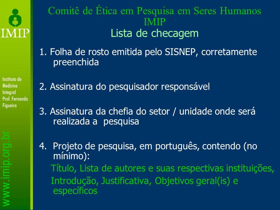 Comitê de Ética em Pesquisa em Seres Humanos IMIP Lista de checagem