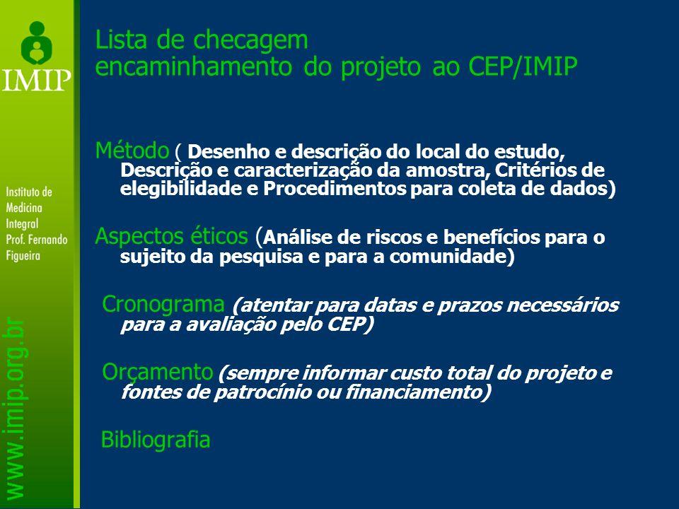Lista de checagem encaminhamento do projeto ao CEP/IMIP