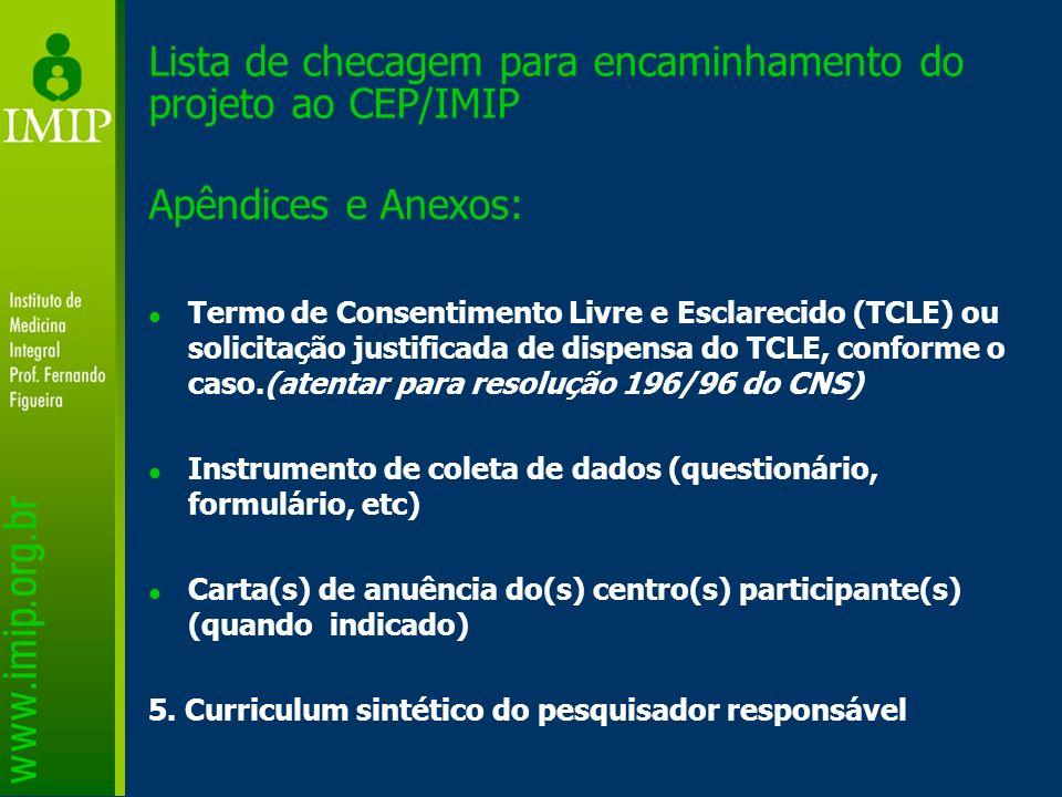 Lista de checagem para encaminhamento do projeto ao CEP/IMIP