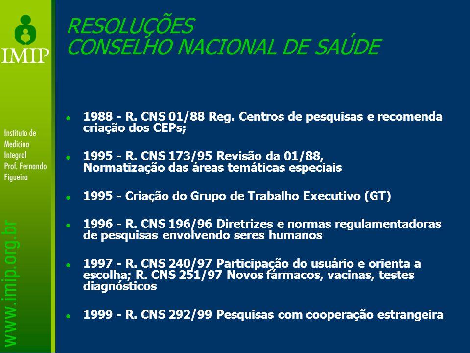 RESOLUÇÕES CONSELHO NACIONAL DE SAÚDE