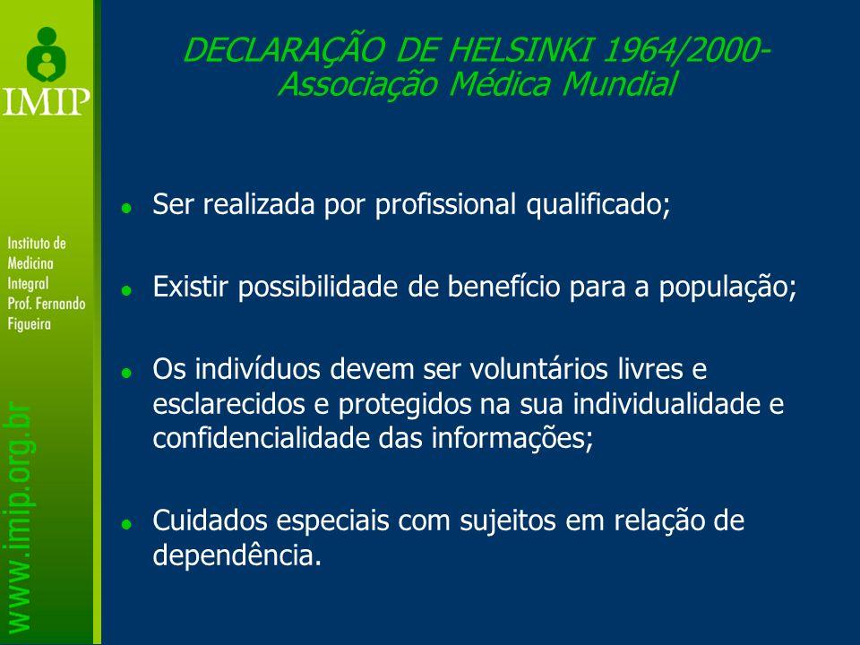 DECLARAÇÃO DE HELSINKI 1964/2000-Associação Médica Mundial