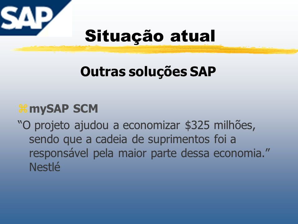 Situação atual Outras soluções SAP mySAP SCM