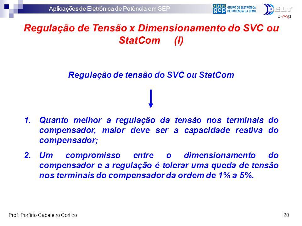 Regulação de Tensão x Dimensionamento do SVC ou StatCom (I)