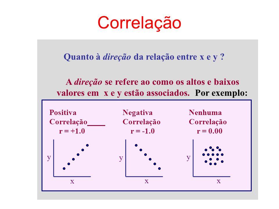 Quanto à direção da relação entre x e y