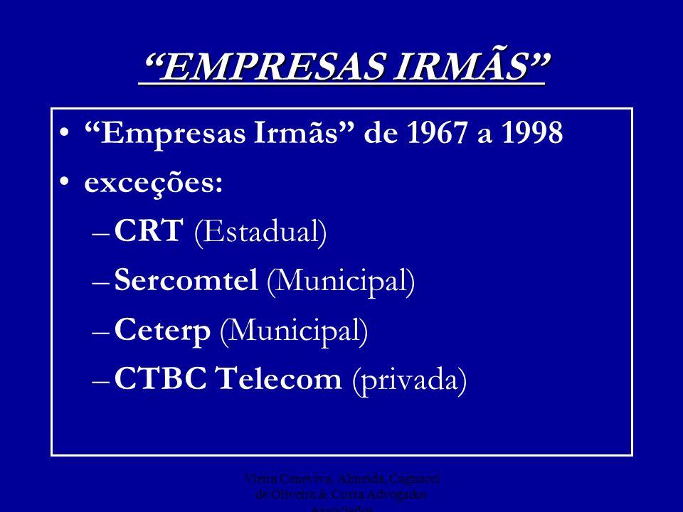 EMPRESAS IRMÃS Empresas Irmãs de 1967 a 1998 exceções: