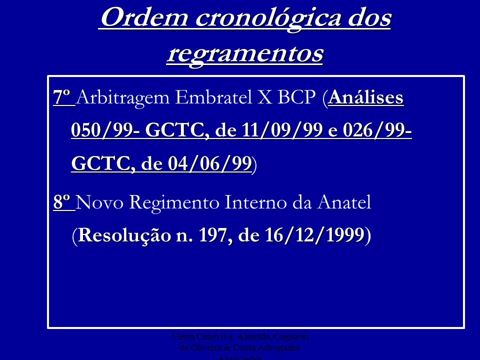 Ordem cronológica dos regramentos