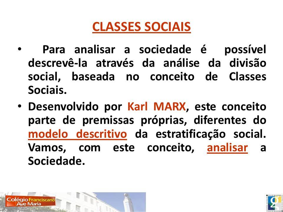 CLASSES SOCIAIS Para analisar a sociedade é possível descrevê-la através da análise da divisão social, baseada no conceito de Classes Sociais.