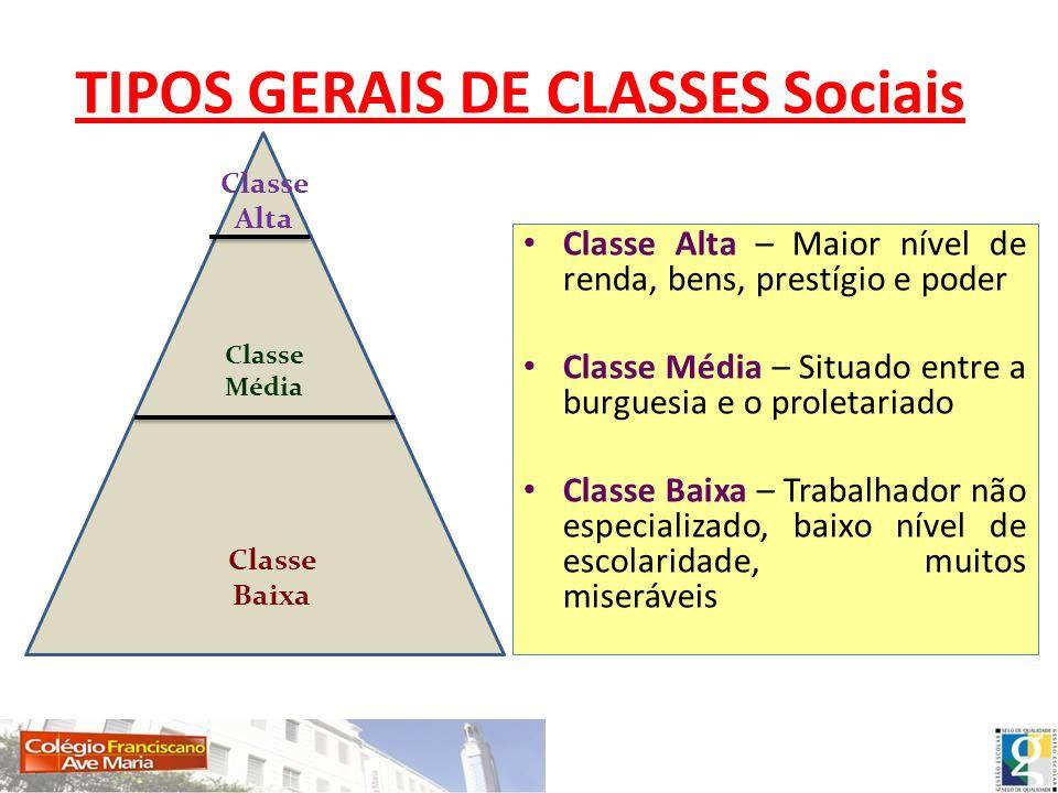 TIPOS GERAIS DE CLASSES Sociais