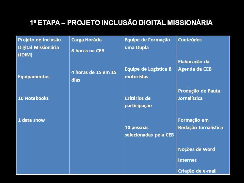 1ª ETAPA – PROJETO INCLUSÃO DIGITAL MISSIONÁRIA