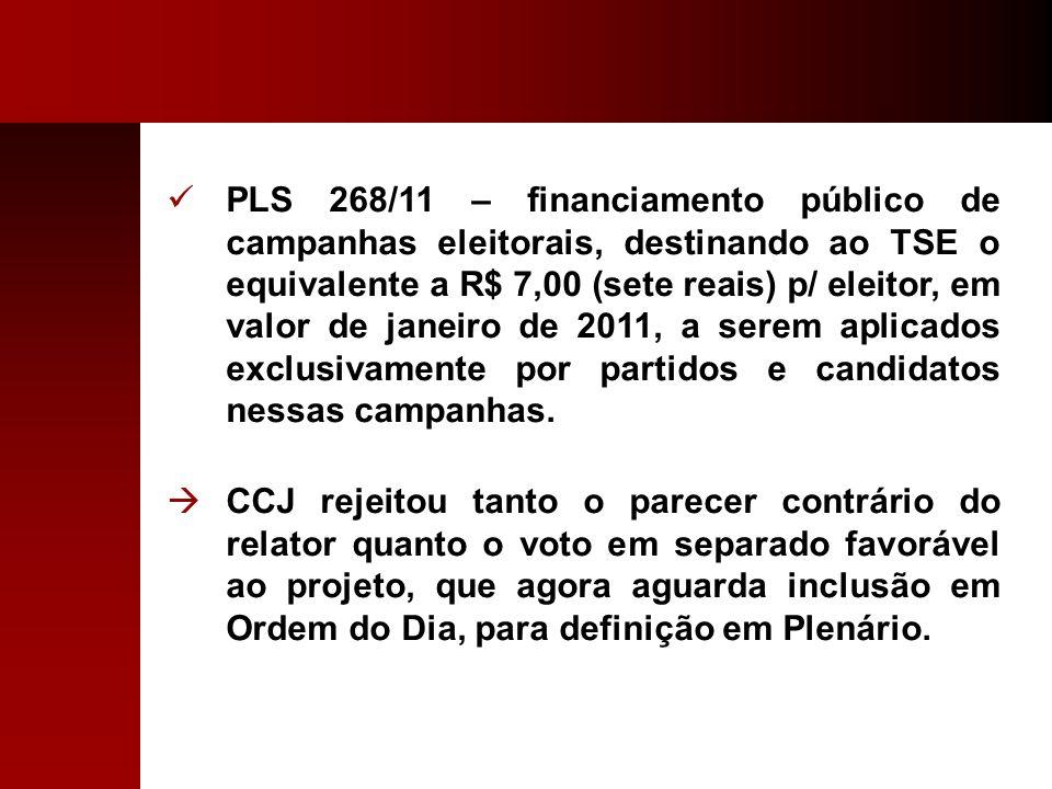 PLS 268/11 – financiamento público de campanhas eleitorais, destinando ao TSE o equivalente a R$ 7,00 (sete reais) p/ eleitor, em valor de janeiro de 2011, a serem aplicados exclusivamente por partidos e candidatos nessas campanhas.
