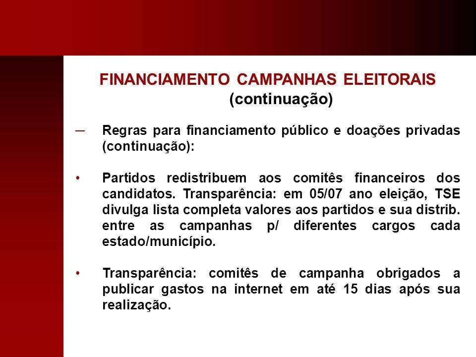 FINANCIAMENTO CAMPANHAS ELEITORAIS (continuação)