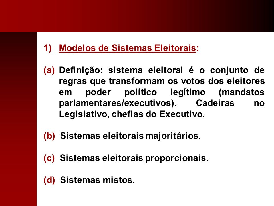 Modelos de Sistemas Eleitorais: